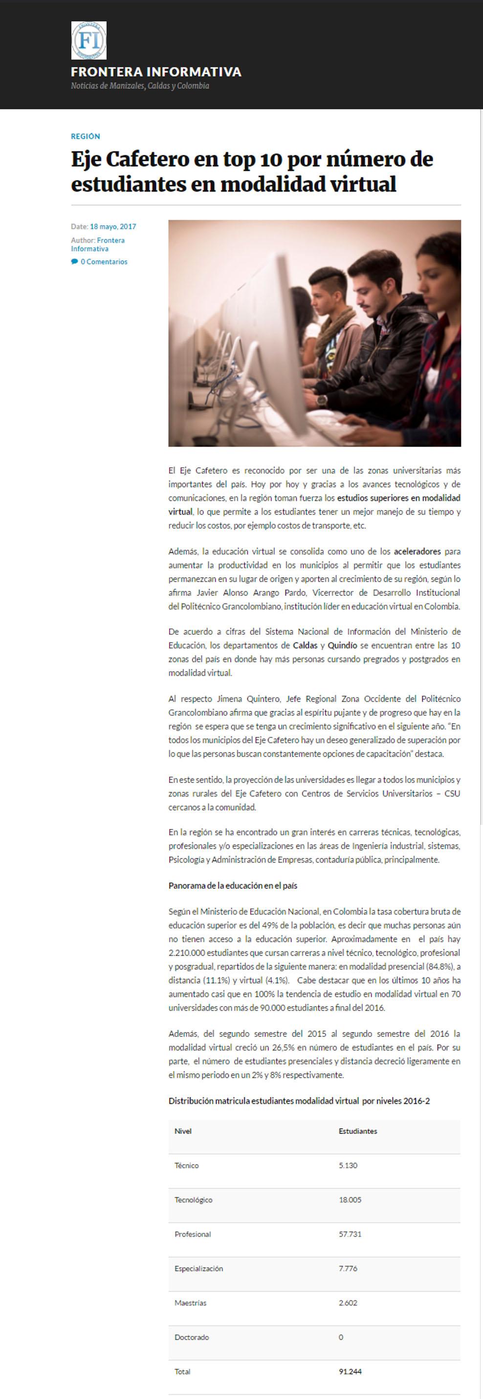 Frontera Informativa 18 de mayo
