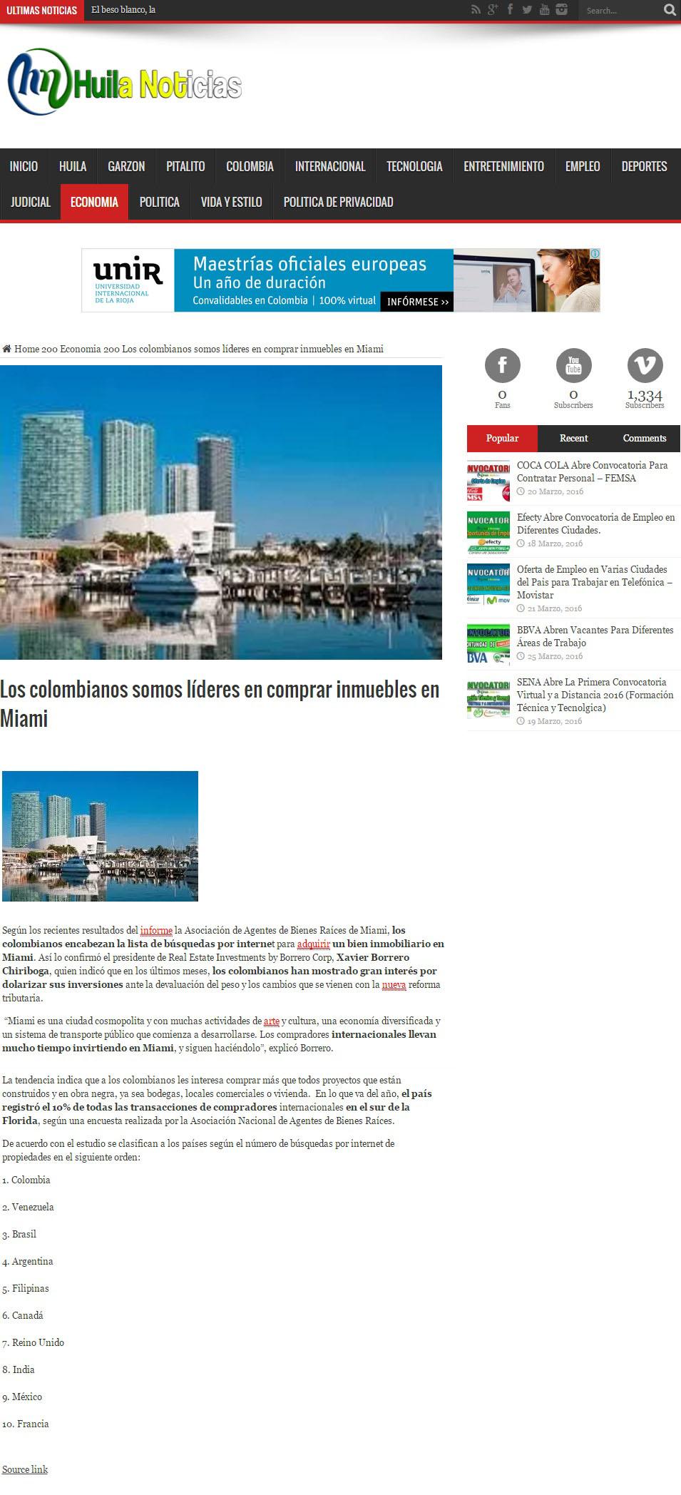 Huila Noticias.com 25 de Octubre de 2016 [web]