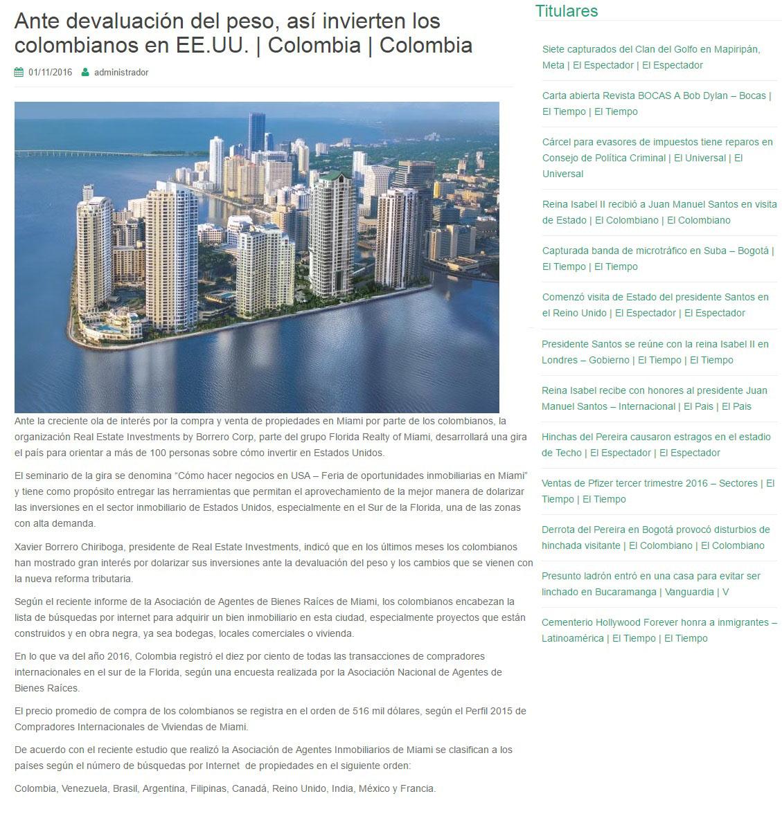 Noticias de colombia.com 1 de Noviembre de 2016 [web]