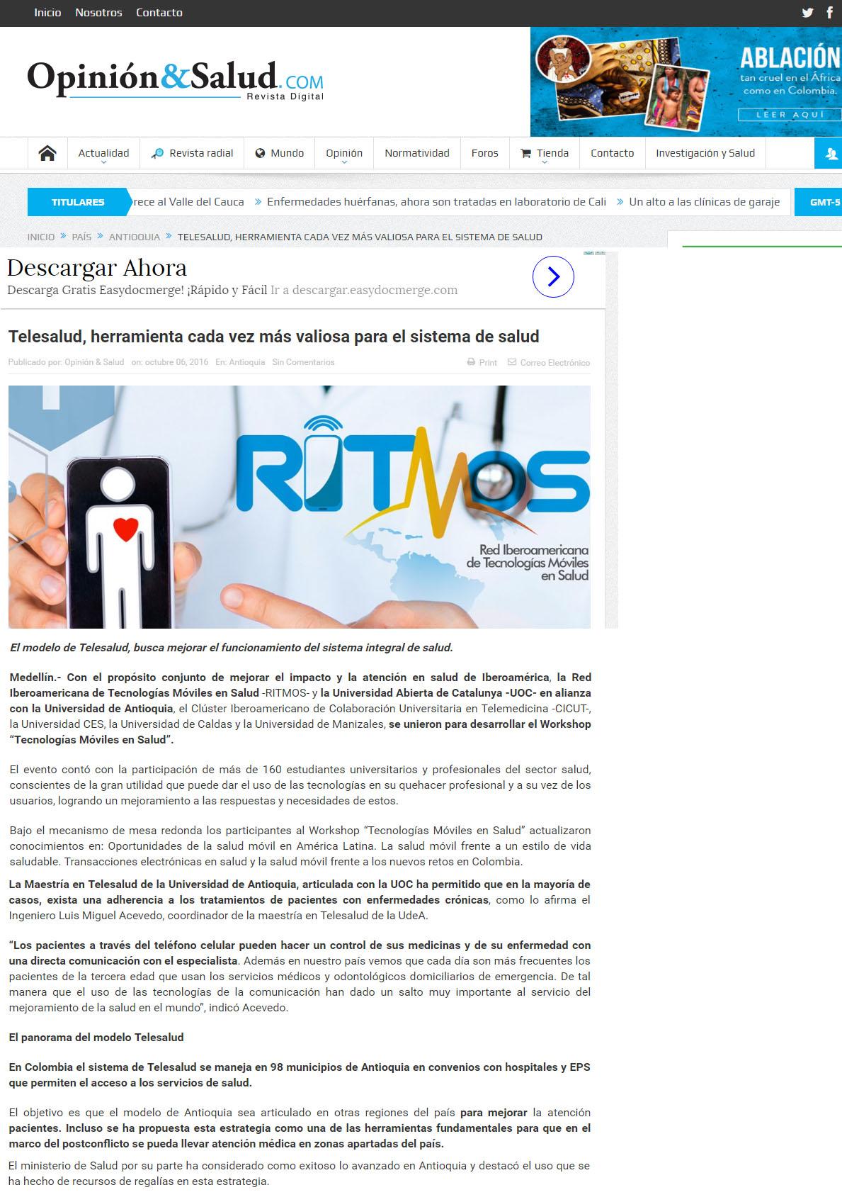 Revista Opinion y Salud 7 – 10- 2016