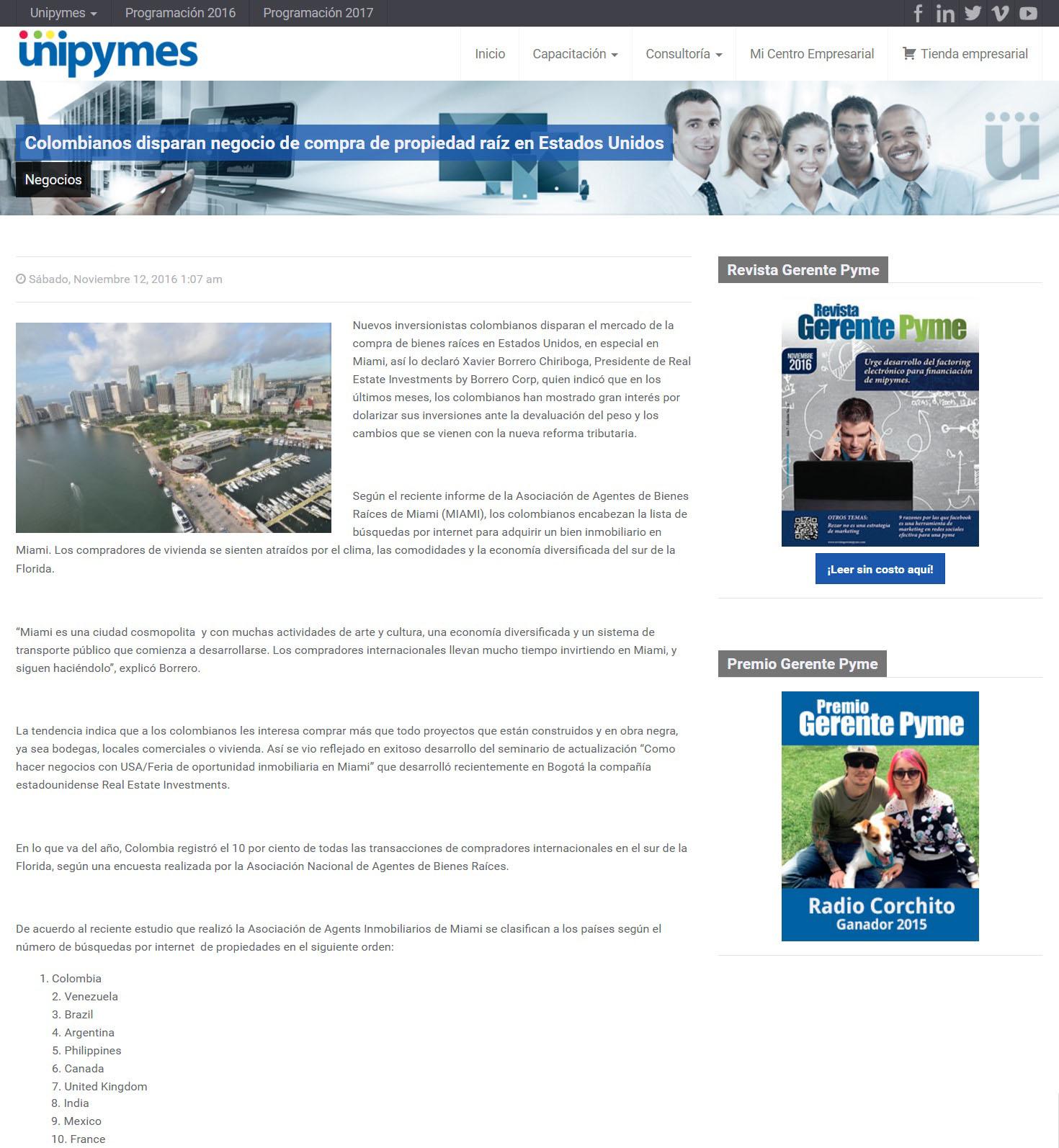 Unipymes 12 de Noviembre de 2016 [web]