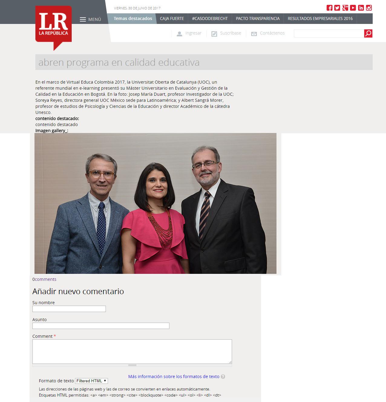 www.larepublica.co 30 de junio 2017