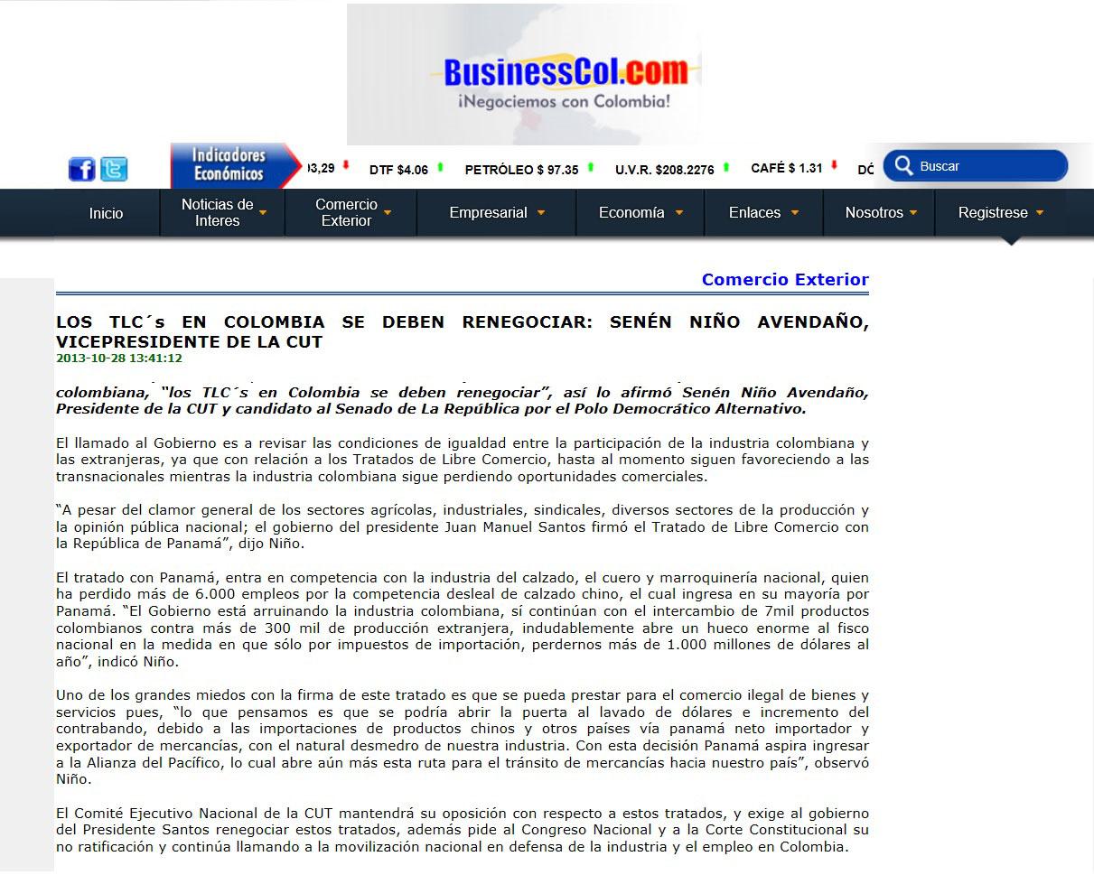 Businesscol.com 28 de oct. TLC renegociación