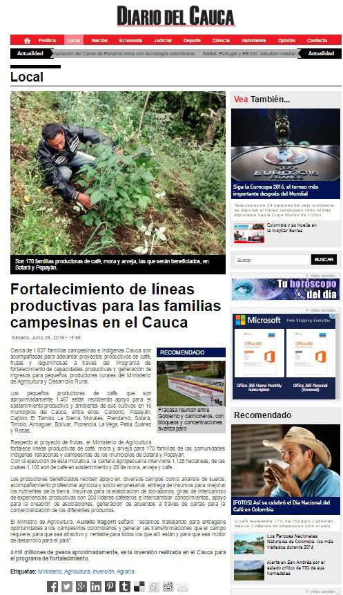 Cauca-Diario del Cauca 25 de Junio