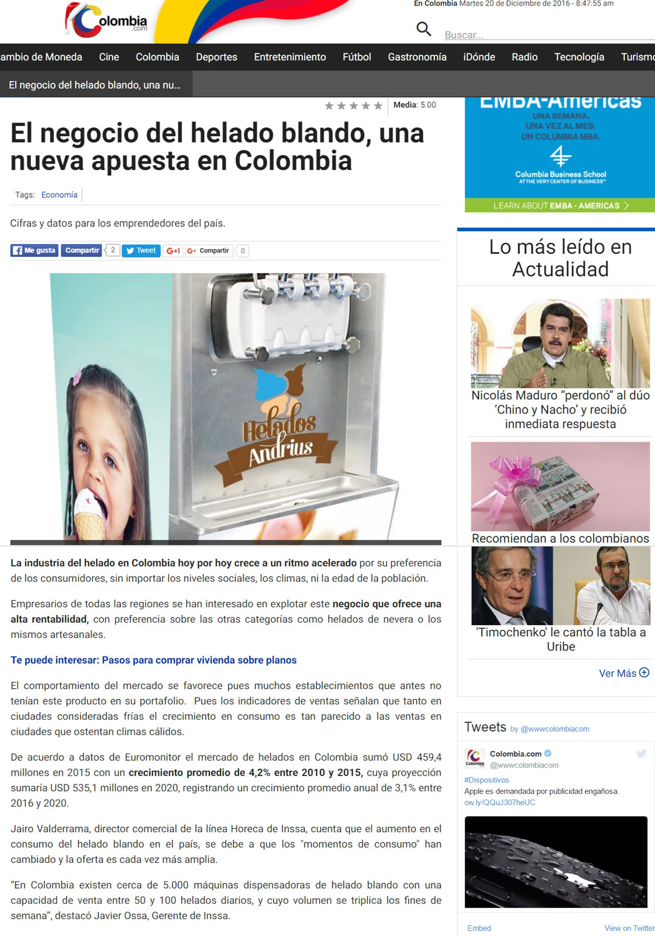 Colombia.com 20 de diciembre de 2016 [web]