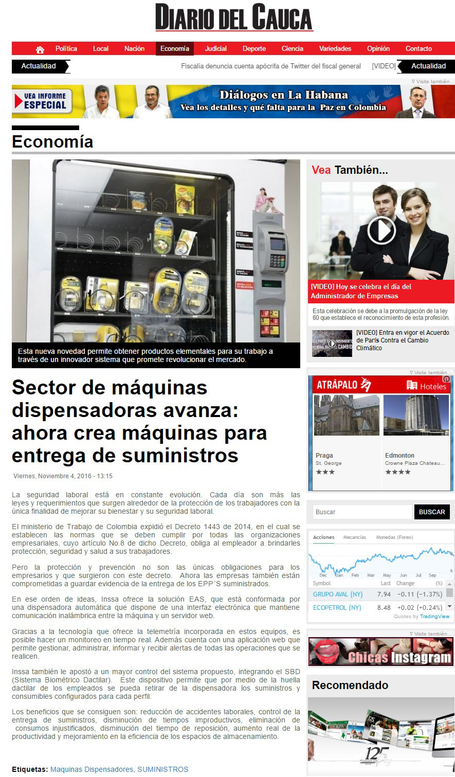 Diario del Cauca 4 de Noviembre de 2016 [web]
