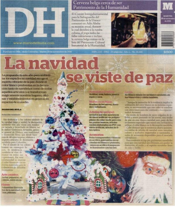 Diario del Huila 29 de Noviembre de 2016 [prensa]