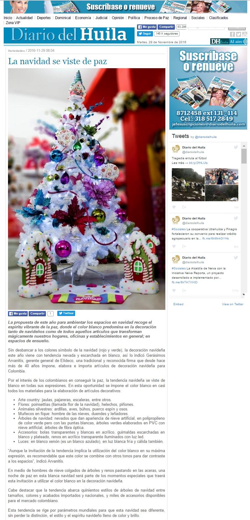 Diario del Huila 29 de Noviembre de 2016 [web]