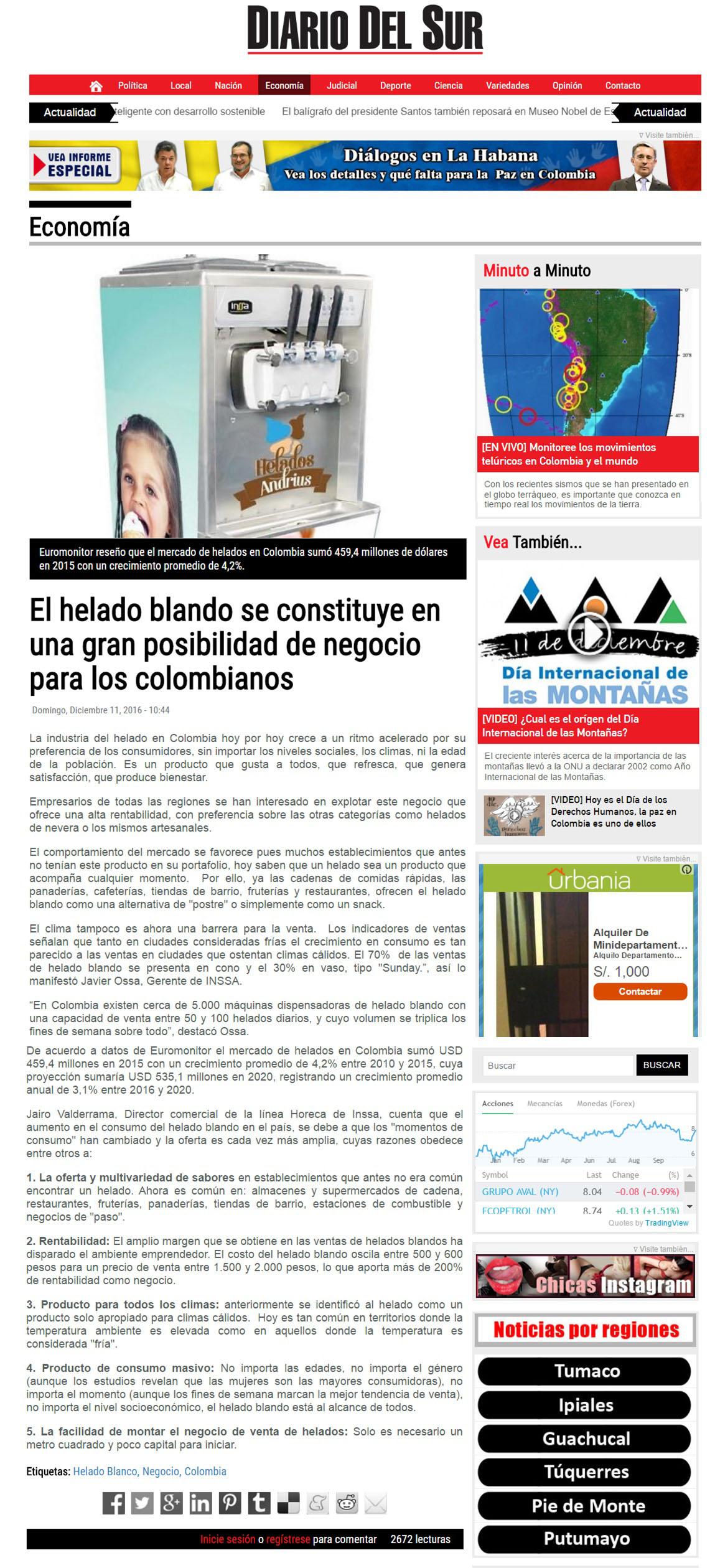 Diario del Sur 11 de Diciembre de 2016 [web]