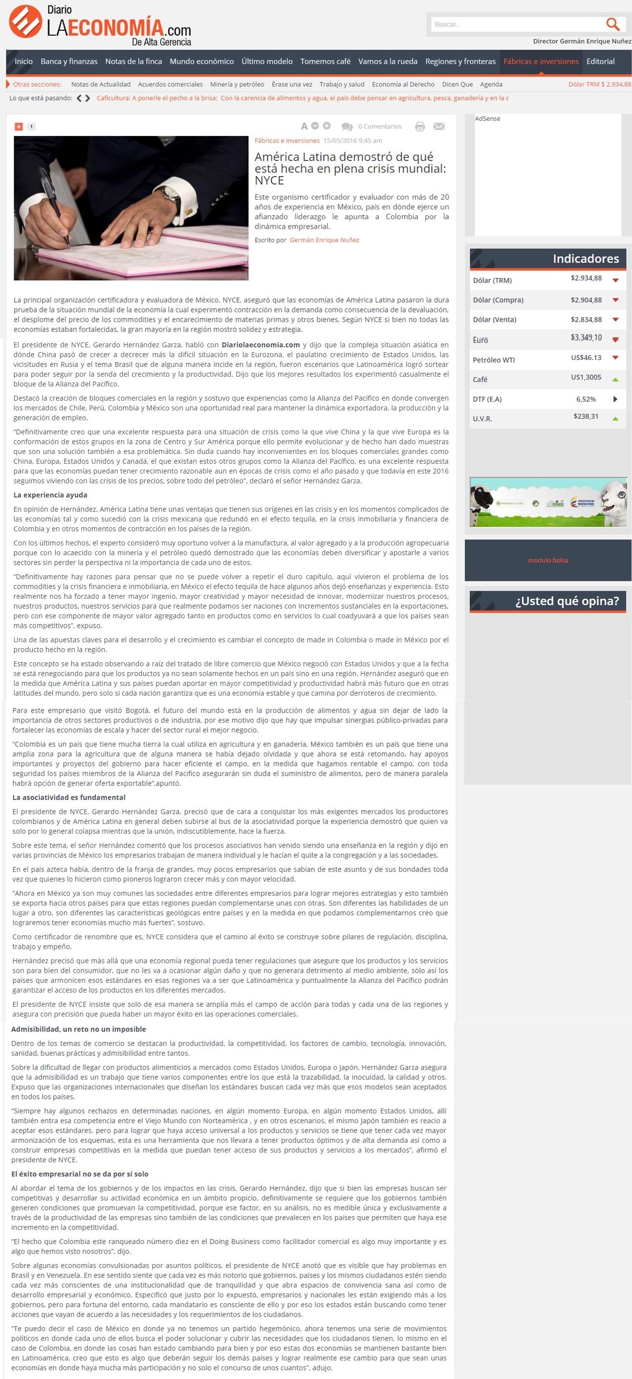 Diario la Economia.com 15 de Mayo de 2016