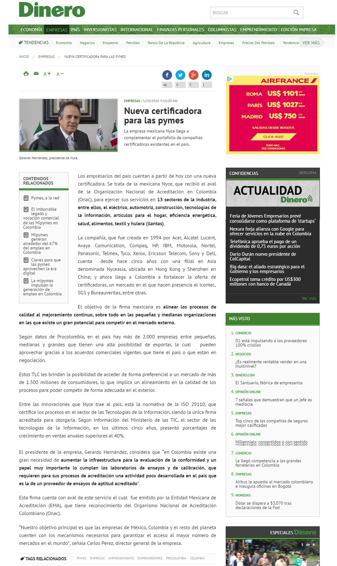 Dinero.com 19 de Mayo de 2016