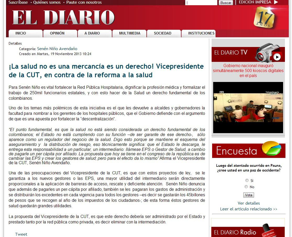 EL DIARIO.COM -REFORMA DE LA SALUD -19 DE NOV