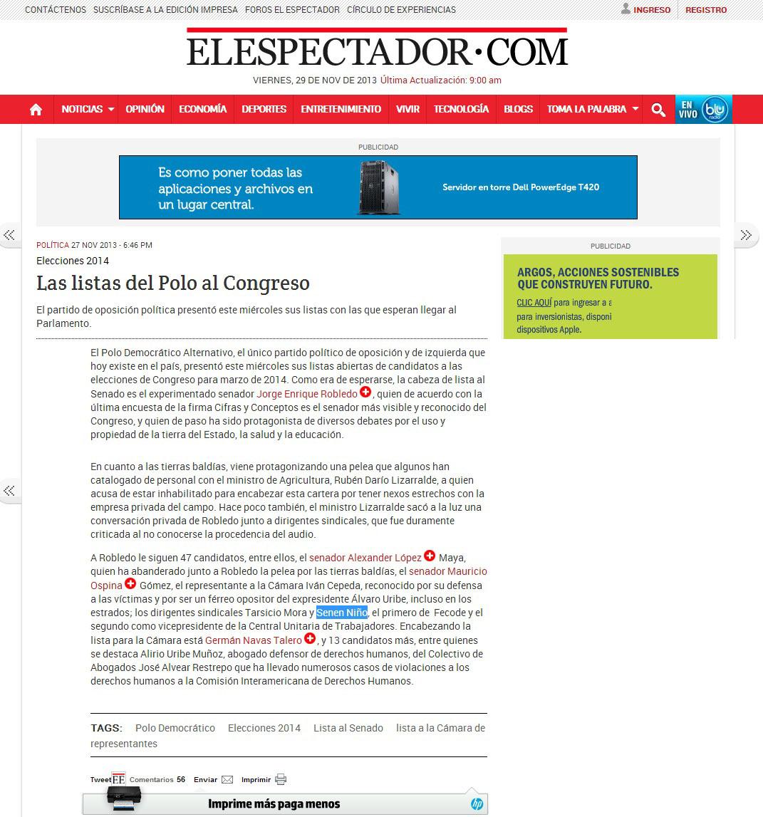 EL ESPECATADOR.COM NOV 27 2013