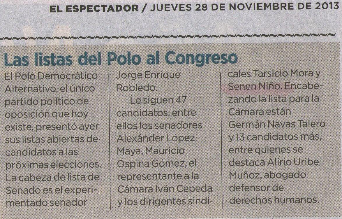 EL ESPECTADOR 28 DE NOV. 2013 2