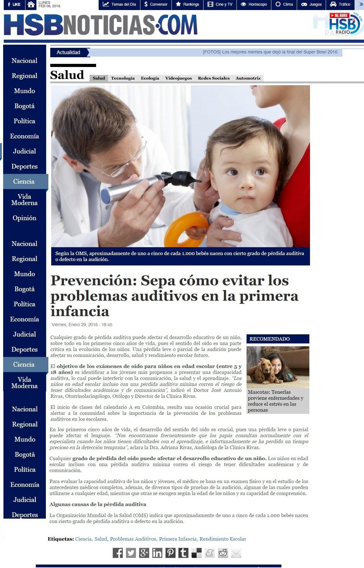 HSBNOTICIAS.COM 29 de enero 2016 Salud 1