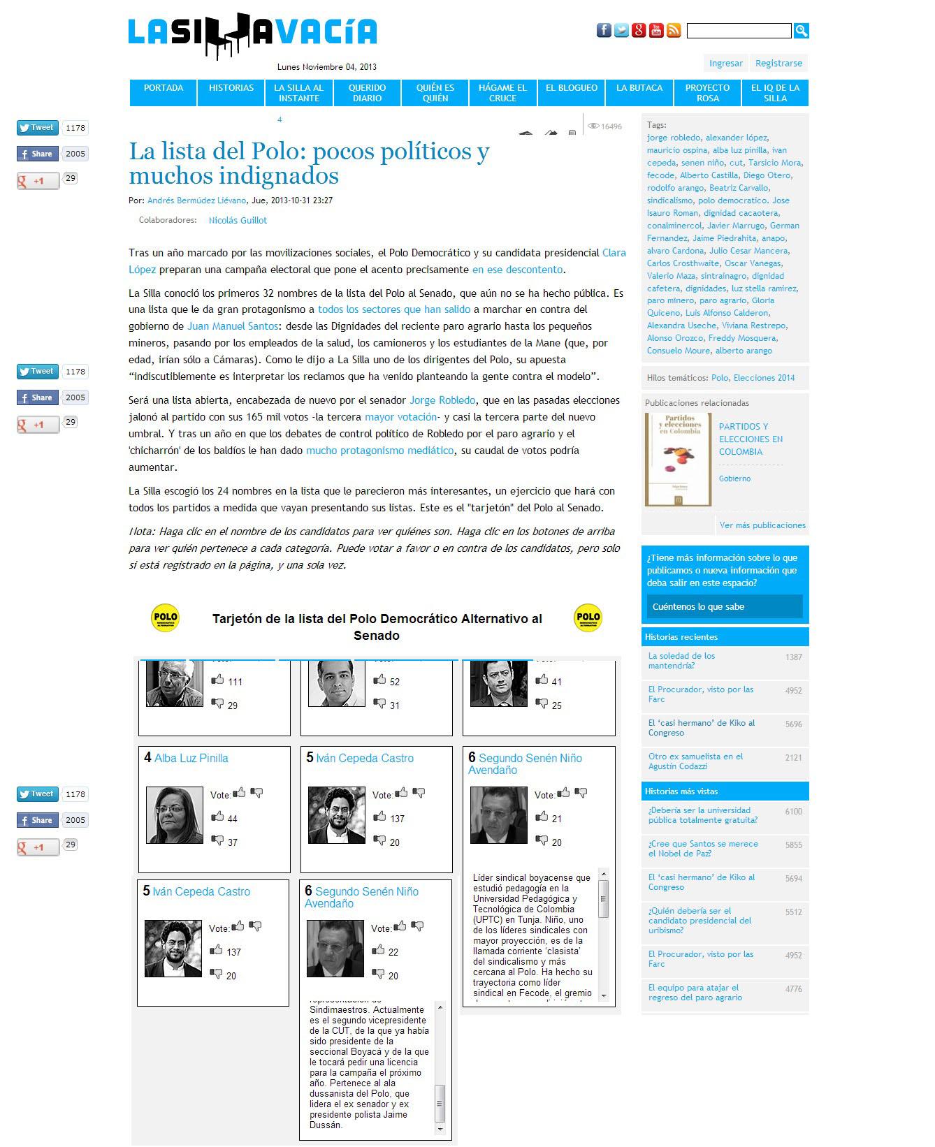 LA SILLA VACIA 4 de nov. 2013