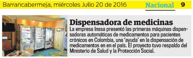 Q¨HUBO DE BARRANCABERMEJA – 20 DE JULIO DE 2016 – INSSA